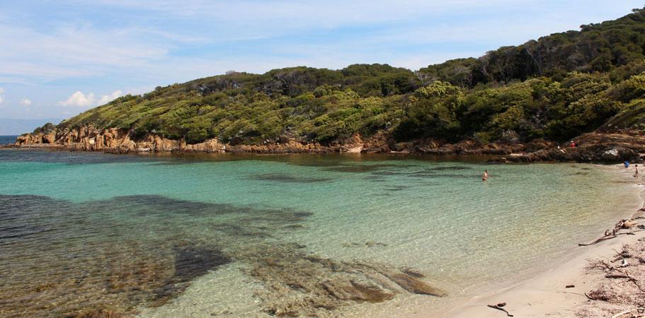 La plage de la palud, arret baignade au sentier sous marin de Port Cros