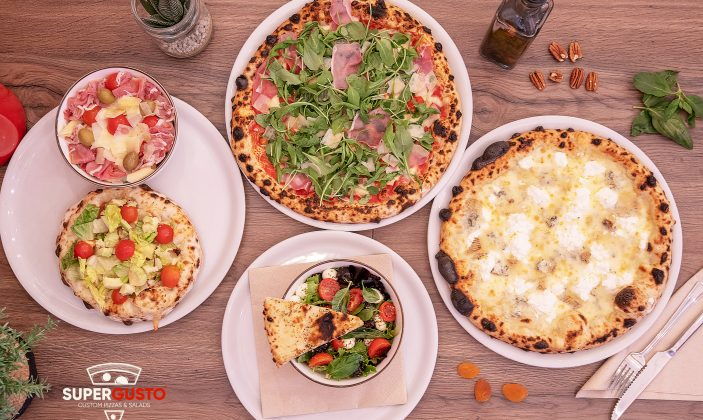 Supergusto vue produit pizzas et salades