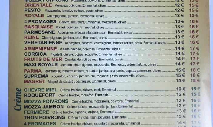 Carte pizza le Vénézia